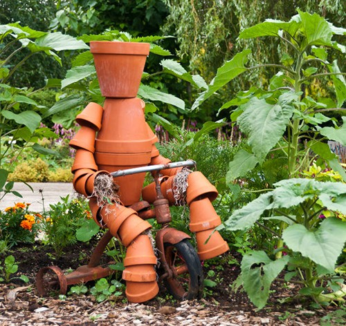 How to Build a Terra Cotta Clay Pot Garden Person