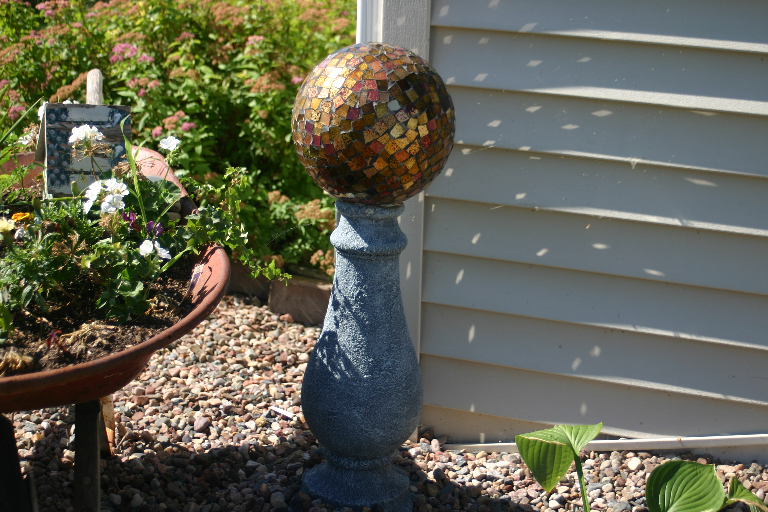 Ideas For Gazing Balls Made from Recycled Materials and Bowling Balls