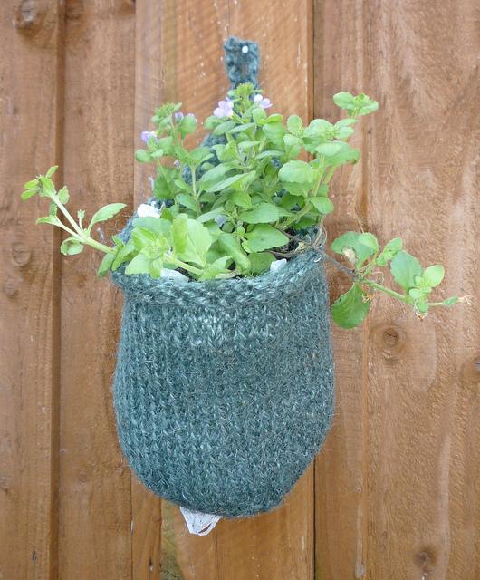 Hanging Knit Planter Basket Pattern For Fences - Knit Pattern for Plants