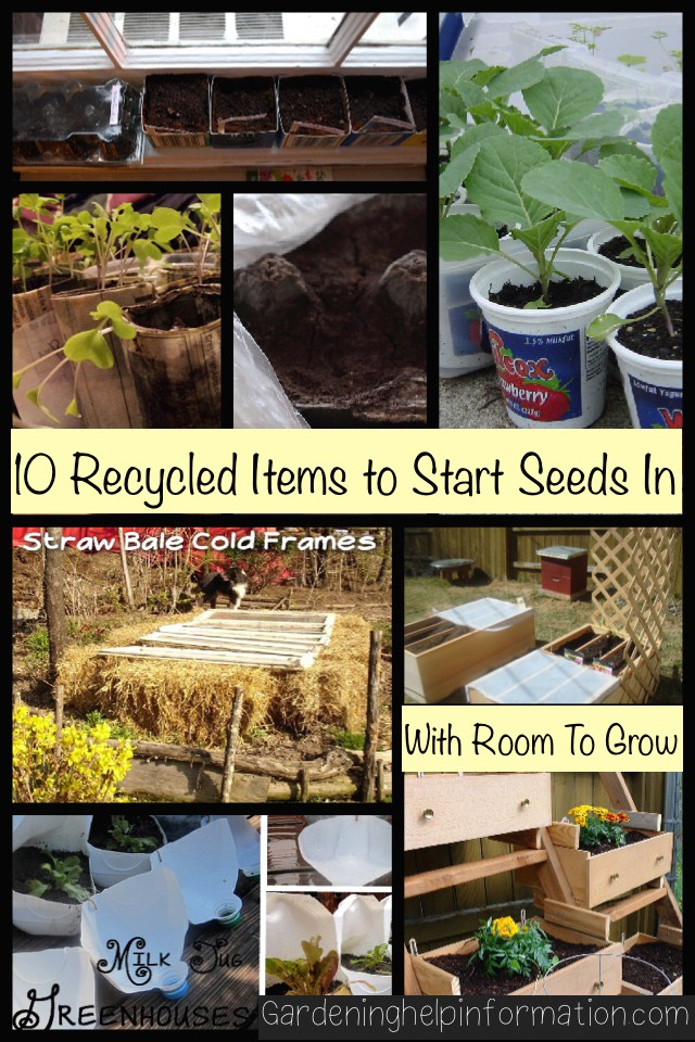 10 Recycled Items to Start Seeds in - A variety of items that can be recycled to grow your garden items.
