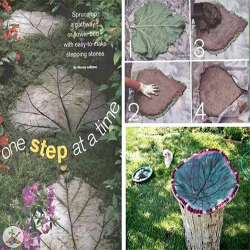 How To Make Rhubarb Leaf Garden Stepping Stones and Bird Baths