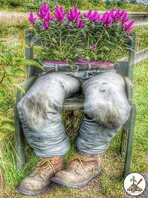 Oh Husband I Need Your Jeans Flower Planter Out Of Recycled Mens Pants with Astilbe Flowers